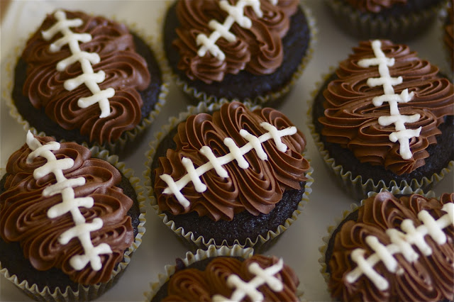 "double chocolate ""football"" cupcakes"