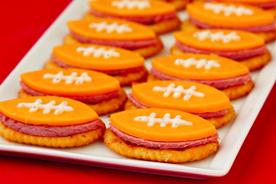 FOOTBALL BITES (WITH SUMMER SAUSAGE, CHEDDAR AND RANCH)
