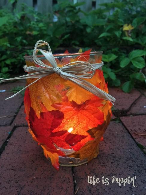 Easy Fall Mason Jar Candle Holder- night