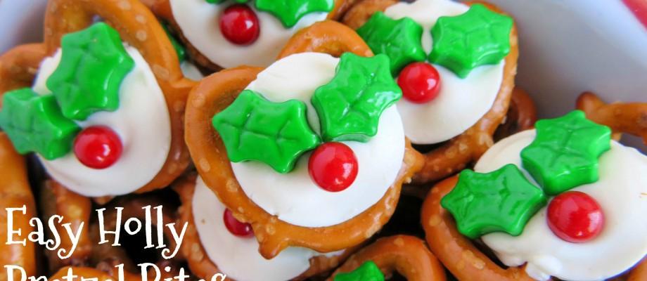 Easy Christmas Holly Pretzel Bites