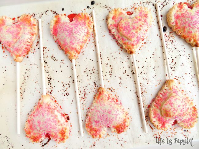 Cherry Pie Heart Pops Baked