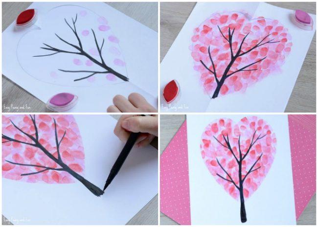 Fingerprint Heart Tree Craft