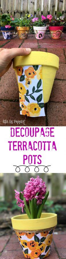 Decoupage Terracotta Pots-Pin